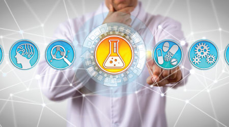 Pensive doctor of chemical engineering aided by AI pondering how to identify a substance with desirable therapeutic effect. Concept for drug discovery, formulation and development, biological target.