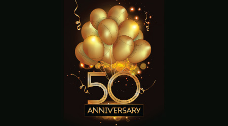 50 Anniversary Logo Celebration with Golden balloon and confetti