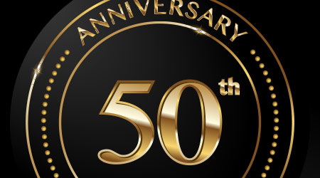 50 years Anniversary Celebrating golden text and confetti on black background. Vector template.