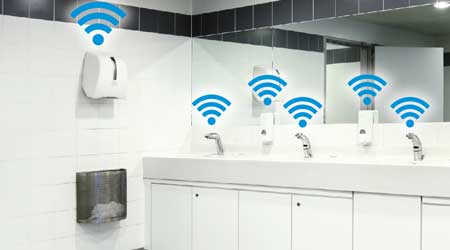 The restroom of a facility featuring IoT items