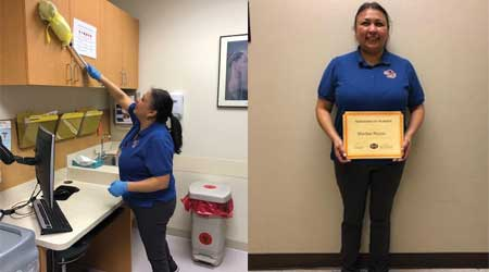 Woman cleans office and receives award