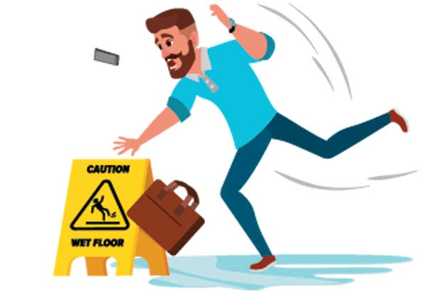 man with briefcase slipping on wet floor with floor sign