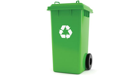 green recycling receptacle