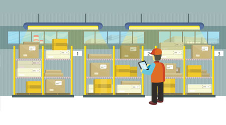 Animation of worker checking inventory