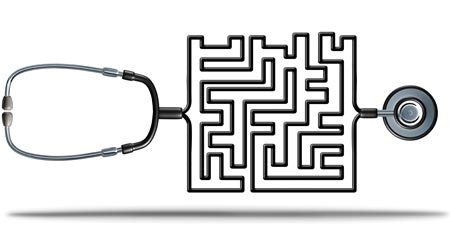 A stethoscope with tubing shaped as a maze