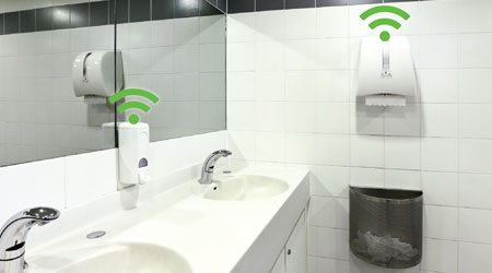A bathroom with IoT-enabled dispensers