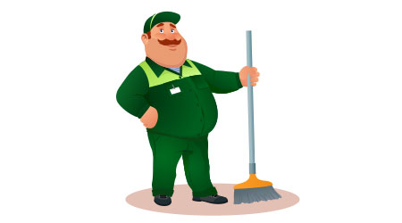 Smiling cartoon janitor with a mop