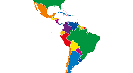 Latin America single states map. All countries in different full intense colors and with national borders