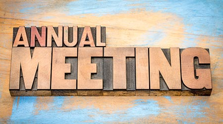 annual meeting word abstract in letterpress wood type against grunge wooden backgroundc