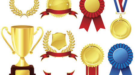 Vector image of a number of trophies
