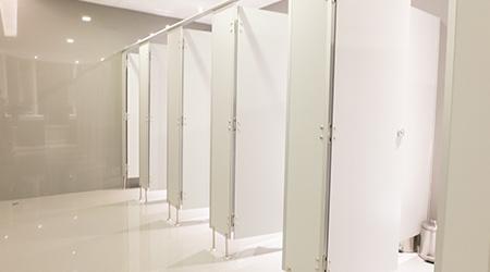 public toilet, restroom, lavatory, doors