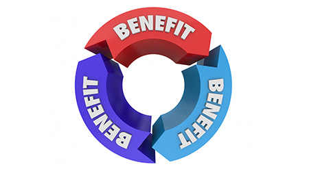 Benefits Great Features Arrows Circle Diagram