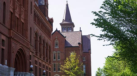 The historic brick buildings on University of Vermont's campus in Burlington, Vermont