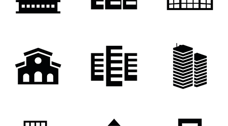 set of 9 editable filled headquarters icons such as building, business centre, building isolated sign symbol