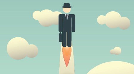 Career development poster template with businessman flying high