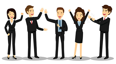 Success business man and women