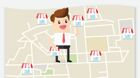 businessman planning expansion franchise business in urban map