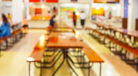 blur image of school cafeteria