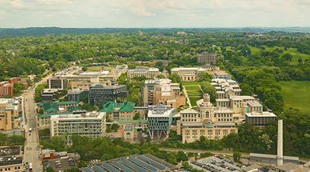 Bird's eye view of Carnegie Mellon University campus