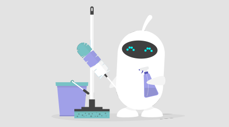 Cute white robot holding the cleaning tools: a feather duster and a cleaning spray