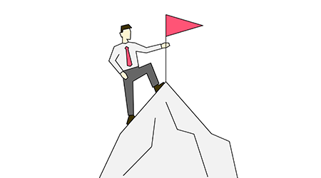 Businessman on the top of mountain linear color illustration on white background