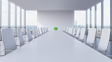 Panoramic conference room in modern office in New York City