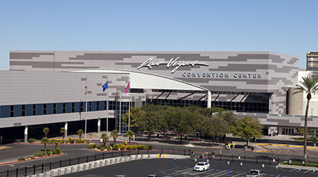 Low aerial view of the Las Vegas Convention Center