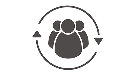 Drop shadow employees silhouette symbol. Company workers. Personnel. Staff turnover. Vector isolated illustration