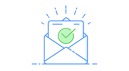 Envelope with approved document thin line icon