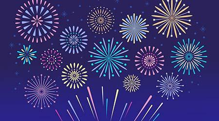 Celebration fire firework, christmas pyrotechnics firecracker