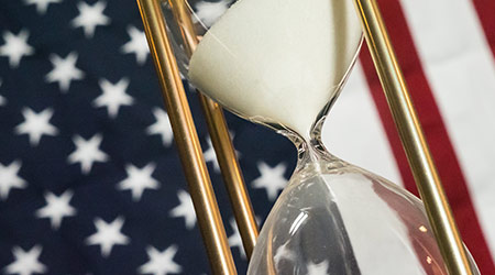 Hourglass with American Flag
