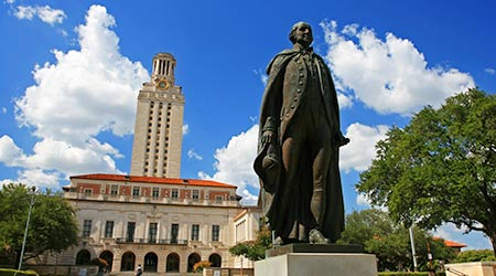 George Washington statue at University of Texas (UT) against blue sky in Austin, Texas