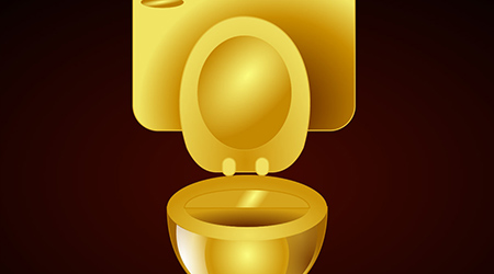 3d render of golden toilet bowl and gold WC pape