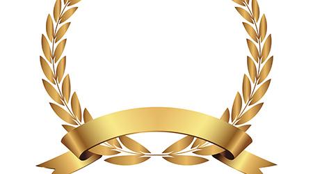 Vector gold laurel wreath.Laurel wreath with golden ribbon