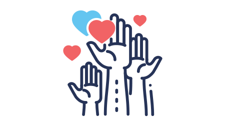 Volunteering - modern vector single line design icon. An image of hands up, different size hearts, blue and color, white background
