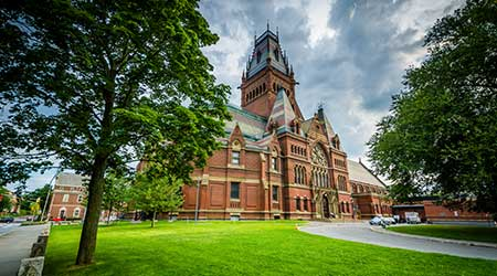 The Harvard Memorial Hall, at Harvard University, in Cambridge, Massachusetts