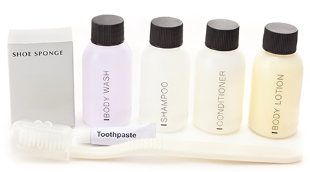 Hotel amenities kit against white background