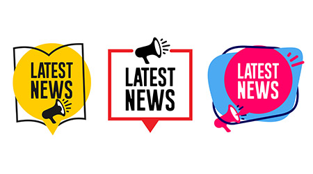 News written in several different designs and fonts