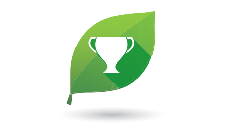 Illustration of a green leaf icon with an award cup