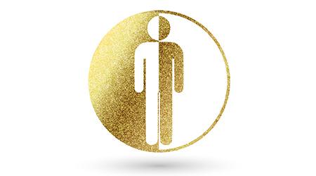 Man symbol in gold