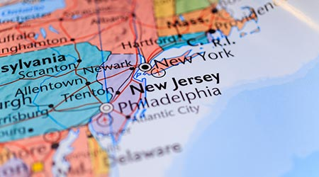 New York and New Jersey on a map