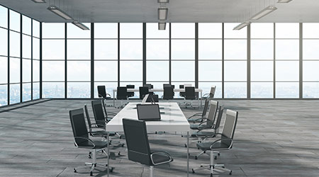 New meeting room niterior with panoramic city view and sunlight