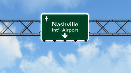 Nashville USA Airport Highway Sign 3D Illustration