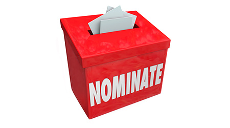 Nominate word on a red suggestion box to illustrate submitting an application or candidate for consideration