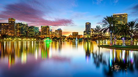 Orlando, Floridadowntown city skyline on Eola Lake.