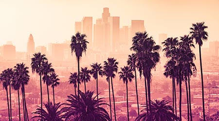 Los Angeles skyline with palm trees in the foreground