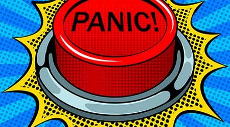 Panic red button pop art retro vector illustration