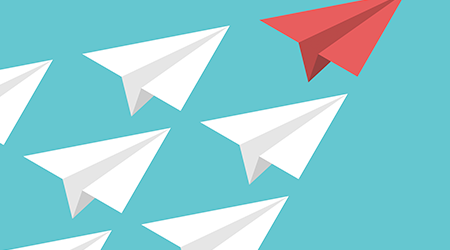 Unique red isometric paper plane and many white ones on turquoise blue sky. Leadership, teamwork and courage concept