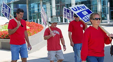 UAW Strikers with signs in front of General Motors Headquarters, Downtown Detroit, September 18, 2019