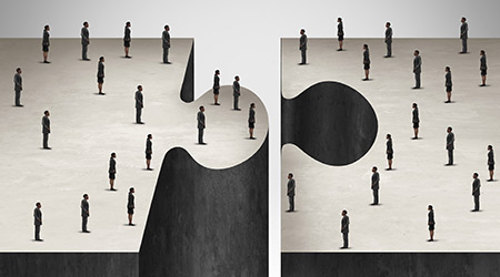 Business People collaboration concept as a jigsaw puzzle with two groups of businesspeople coming together as a corporate symbol for group agreement to build a project